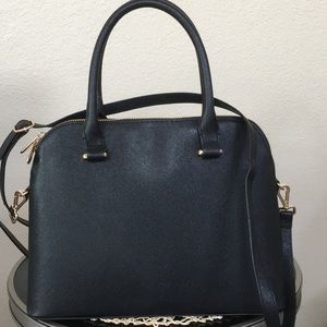 New H&M Black Faux Pebbled Leather Satchel Handbag